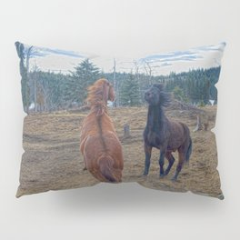 The Challenge - Ranch Horses Fighting Pillow Sham