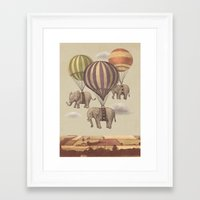 kawaii Framed Art Prints featuring Flight of the Elephants  by Terry Fan