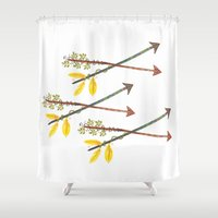 arrows Shower Curtains featuring Arrows by Emily Jankov