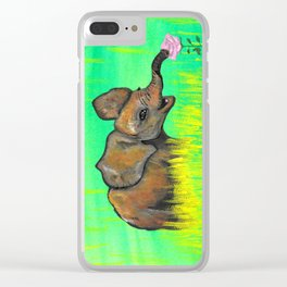Baby elephant in the green fields smelling a pink rose by Jana Sigüenza Clear iPhone Case