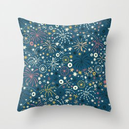 There are fireworks everywhere (blue) Throw Pillow