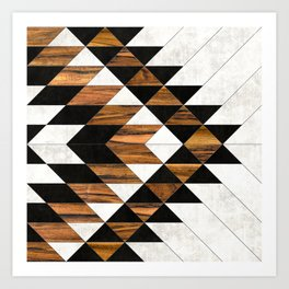 Urban Tribal Pattern 9 - Aztec - Concrete and Wood Art Print