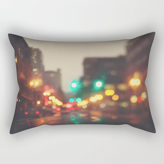 Portland In The Rain Rectangular Pillow
