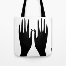 Hand bird, simple black print. Tote Bag