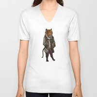 suits V-neck T-shirts featuring Animals in Suits - Sumatran Tiger by Katadd