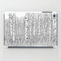 birch iPad Cases featuring Birch Trees Black and White Illustration by Vermont Greetings