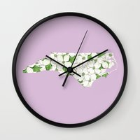 north carolina Wall Clocks featuring North Carolina in Flowers by Ursula Rodgers