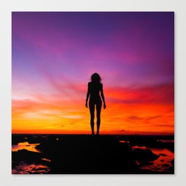 silhouette photography of a woman Canvas Print