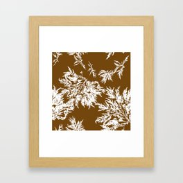 Brown Seaweed Pattern Framed Art Print