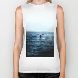 Ocean Teal Whale Biker Tank