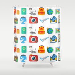 Travel Icons Shower Curtain