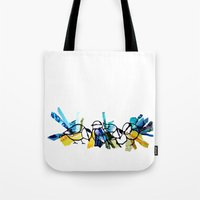 tits Tote Bags featuring Blue Tits by Libbysscribbles
