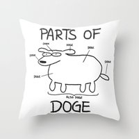 doge Throw Pillows featuring PARTS OF DOGE by Yiji
