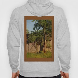 Dilapidated old wooden shack and tree shadow Hoody