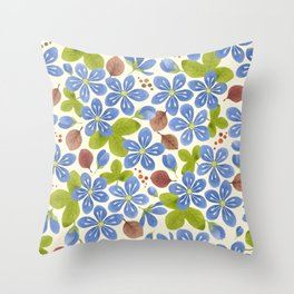Pattern with hepatica flowers Throw Pillow