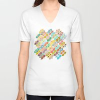 ikat V-neck T-shirts featuring Varsha ikat by Sharon Turner