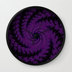 Purple Spiral Fractal Design Wall Clock