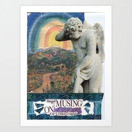 angel musing on visions of Christmas Art Print