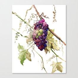 Grapes, California Vineyard Wine Lover design Canvas Print