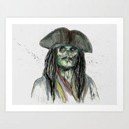 Captain Jack Zombie Art Print