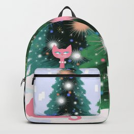 Pink And Perfect Kitty Cats In The Sparkling Snow Backpack