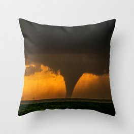 Silhouette - Large Tornado at Sunset in Kansas Throw Pillow