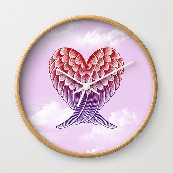 Heart Wings [Pink Version] Wall Clock