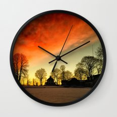 Dramatic Sunset Wall Clock