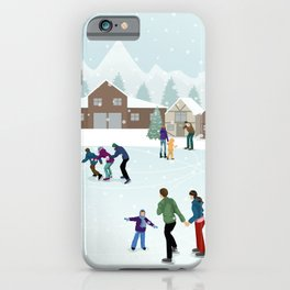 People Skating on the Ice Rink During Winter iPhone Case