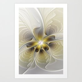 Gold And Silver, Abstract Flower Fractal Art Print