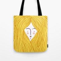blondie Tote Bags featuring Blondie by Katie L Allen
