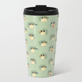 Adorable Green Penguin Pattern Metal Travel Mug