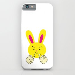 One Tooth Rabbit Emoticons Bunny Face with Steam From Nose iPhone Case