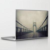 marc johns Laptop & iPad Skins featuring St. Johns Bridge by Leah Flores