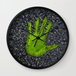 Carbon handprint / 3D render of modern city with handprint shaped park Wall Clock