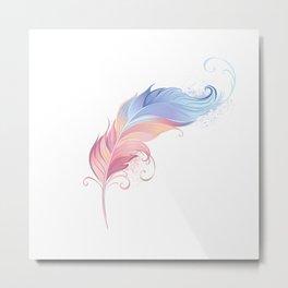 Elegant Powder Feather Metal Print