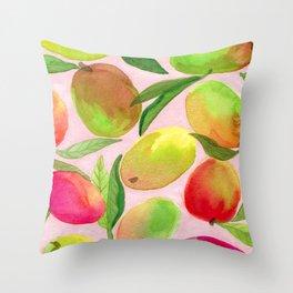 Mango Watercolor Painting Throw Pillow