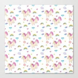 Pretty unicorn pattern Canvas Print