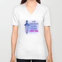 sword V-neck T-shirts featuring Retro Sword by DonCorgi