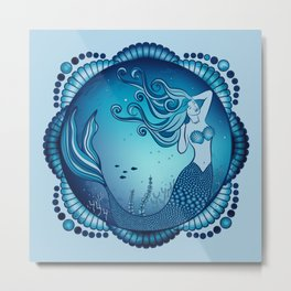 Mermaid Mandala - Blue Metal Print