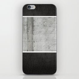 Raw Concrete and Black Leather iPhone Skin