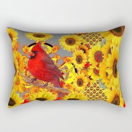 MODERN ABSTRACT RED CARDINAL YELLOW SUNFLOWERS GREY ART Rectangular Pillow