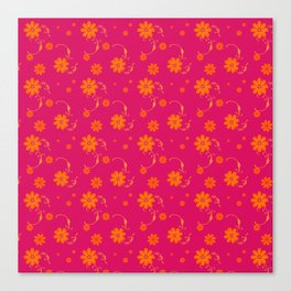 Orange Daisy Flowers on Hot Pink Background Canvas Print