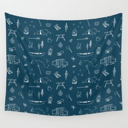Simple Camping blue Wall Tapestry