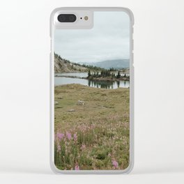 Mountain Valley Lake and Wildfire Flowers Clear iPhone Case