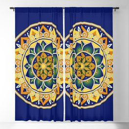 Italian Tile Pattern – Peacock motifs majolica from Deruta Blackout Curtain