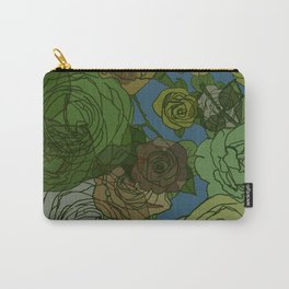 Roses Illustration in Green and Blue Carry-All Pouch