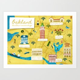 Illustrated Map of Oakland California Art Print