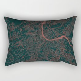 Basel Map Red Rectangular Pillow