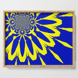The Modern Flower Blue & Yellow Serving Tray